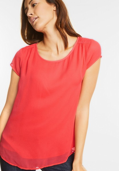 Street One - Kurzärmelige Chiffonbluse in Hot Coral