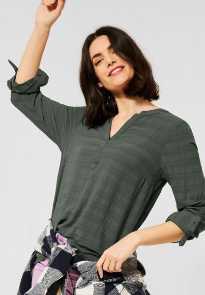CECIL - Uni Bluse mit Crêpe-Streifen in Soft Khaki