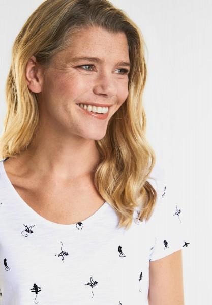 CECIL - T-Shirt mit Monkey-Print in White