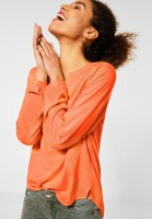 Street One - Bluse in Unifarbe in Strong Mandarine