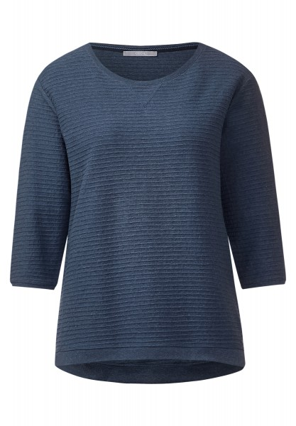 CECIL - Rippstruktur-Shirt Milena Deep Blue Melange