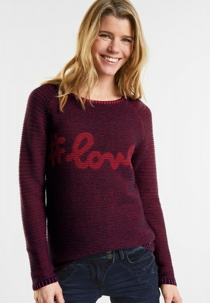 CECIL - Wording Strick Pullover in Salsa Red