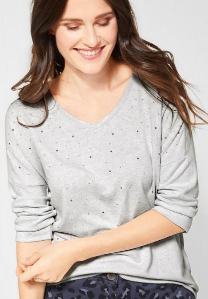 CECIL - Softes Shirt mit Dekor in Mineral Grey Melange