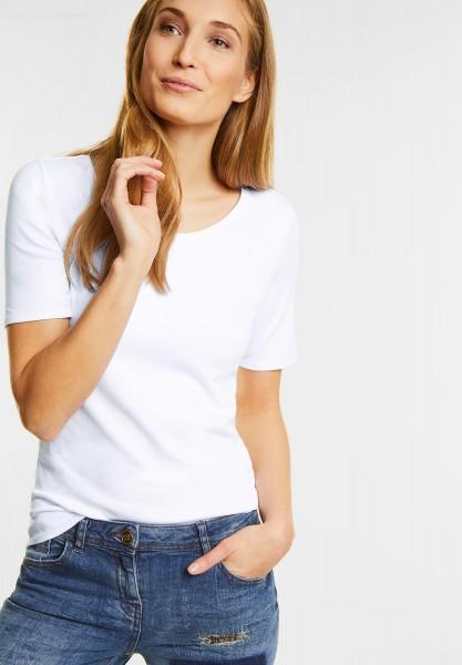 CECIL Organic Halbarmshirt Lena in White