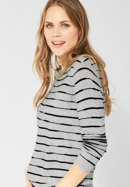 CECIL - Pullover mit Streifen in Off White Melange