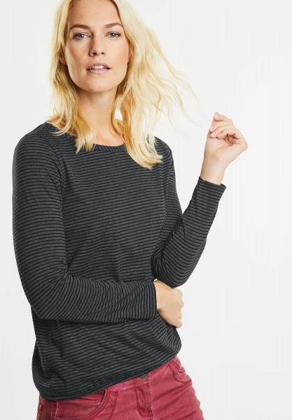 CECIL - Streifen Longsleeve Marlena in Black