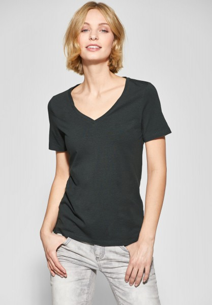 Street One - Shirt mit V-Neck Rhea in Chilled Green