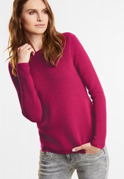 Street One - Rippstruktur Pullover Robby in Funky Pink