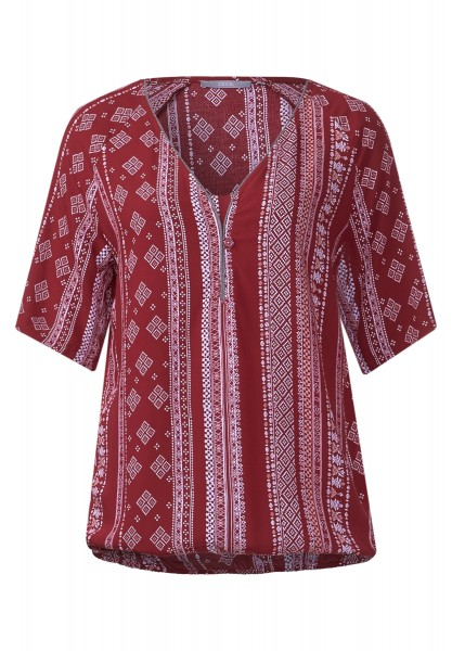 CECIL - Bordürenprint-Viskosebluse Crimson Red