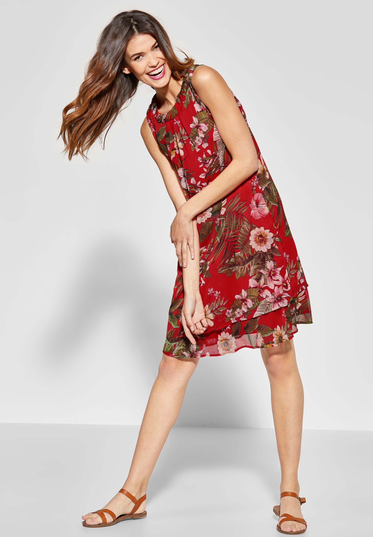street one - print kleid im lagen-look in vivid red