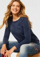 CECIL - Shirt mit Streifen Muster in Deep Blue