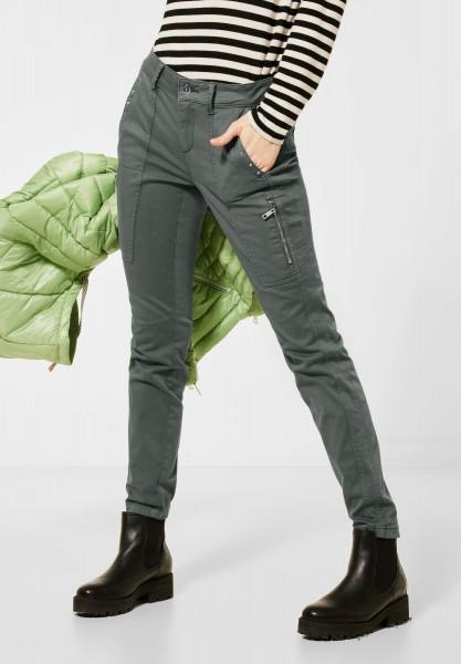 Street One - Cargo-Style Hose mit Nieten in Washed Dark Pistachio