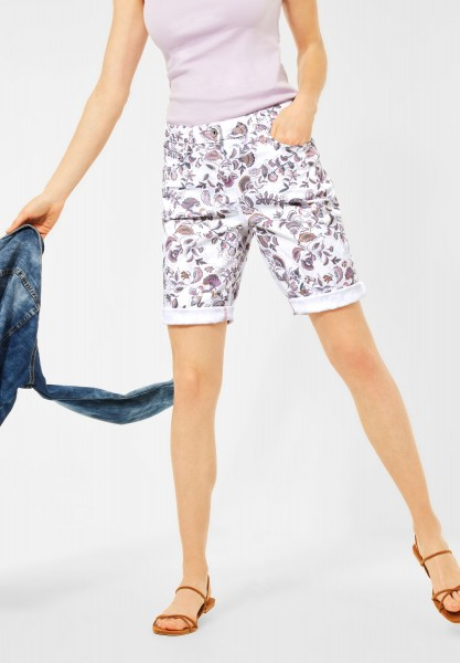 CECIL - Loose Fit Shorts in Print in White