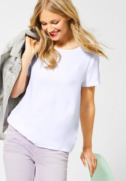 Street One - T-Shirt in Unifarbe in White