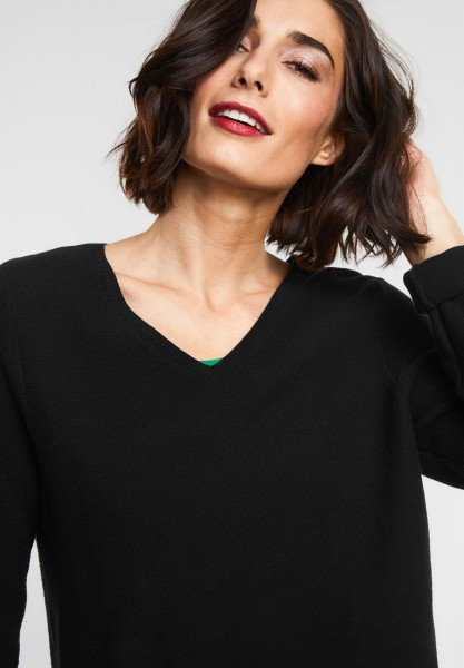 Street One - Basic Baumwoll Pullover in Black