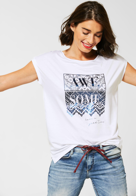 Street One T Shirt mit Frontprint in White