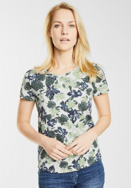 CECIL - Melange Shirt mit Blüten in Palm Green