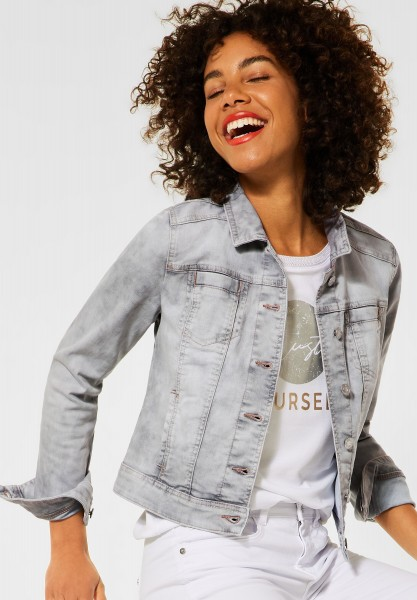 Street One - Coole Indoor Jacke in Denim in Clear Grey Random Bleach