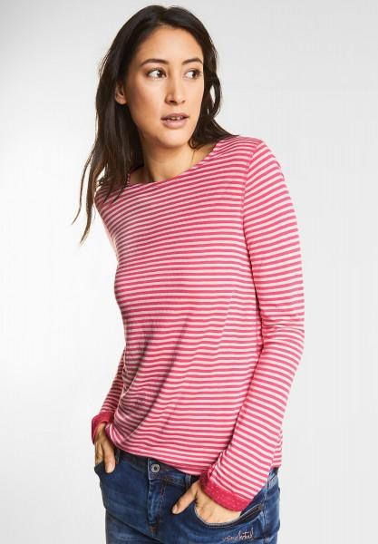 Street One - Doubleface Streifenshirt in Colada Pink