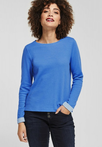 Street One - Shirt mit Kontrastdetail in Sky Blue