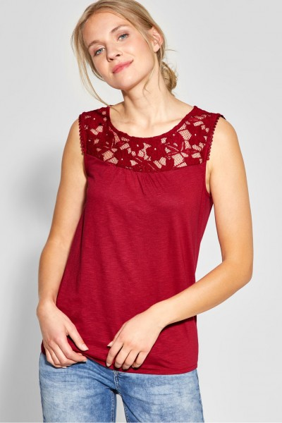 Street One - Shirt mit Spitze Vicky in Wine Red