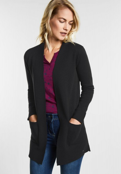 CECIL Weicher Long-Cardigan in Black