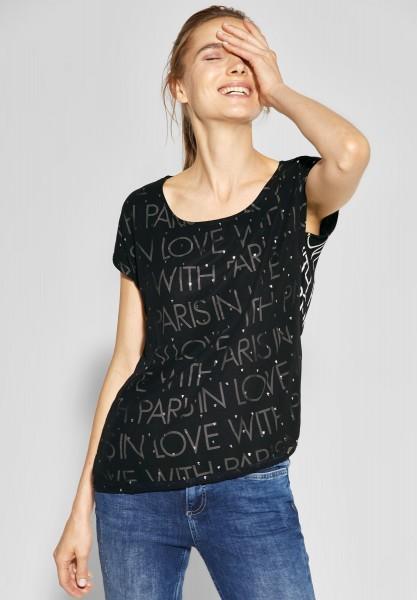 Street One - Chiffon-Shirt mit Print in Black