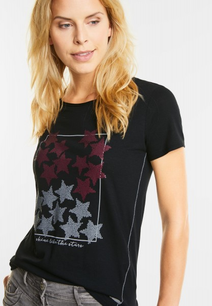 CECIL - Basic Shirt mit Sternenprint in Black