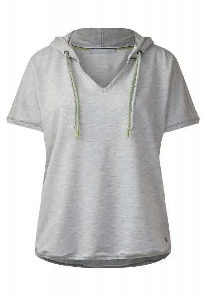 CECIL - Softes Kurzarm Kapuzenshirt in Mineral Grey Melange