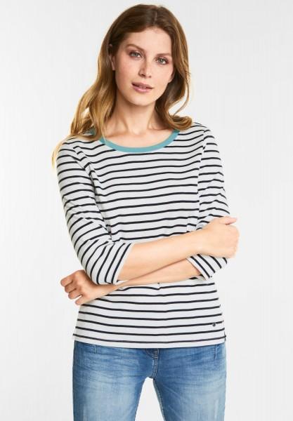 CECIL Weiches Streifen Shirt in Pure Off White