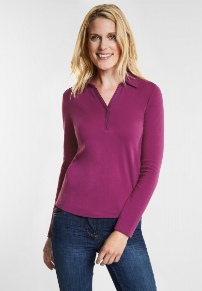 CECIL - Longsleeve Polo-Shirt in Fuchsia Pink