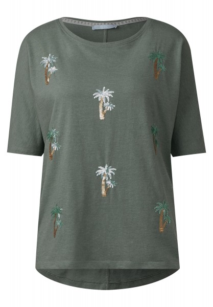 CECIL - Shirt mit Pailletten Palmen in Palm Green Melange