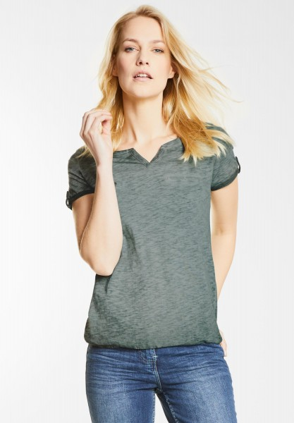 CECIL - Washed Look T-Shirt Anni in Palm Green