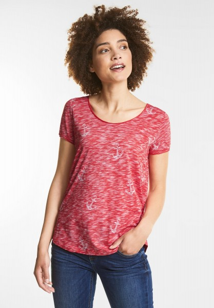 Street One - T-Shirt im Inside-Out Style in Hibiscus Red