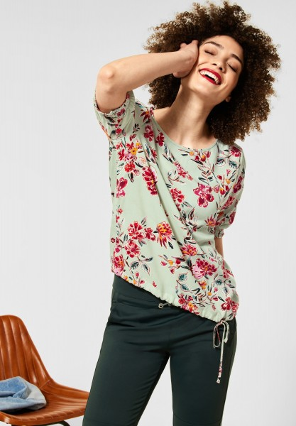 Street One - Bluse mit Print in Light Shadow Green