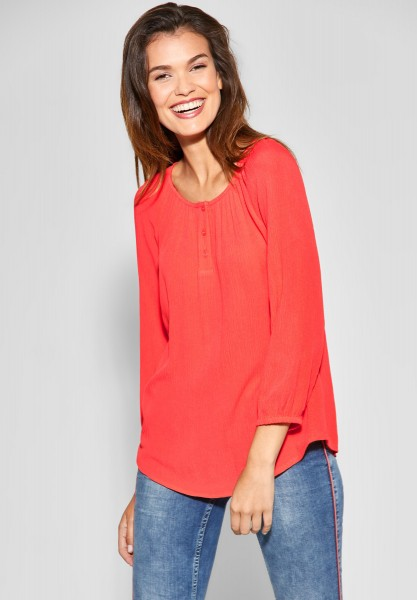 Street One - Softe Bluse mit Knopfleiste in Bright Coral