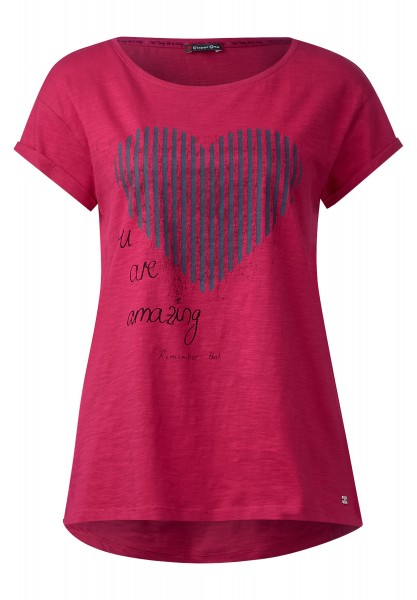Street One - Kurzarmshirt mit Frontprint in Passion Pink