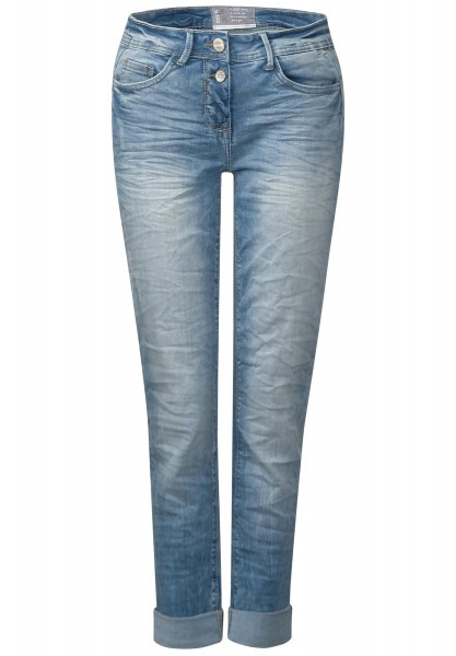 CECIL - Helle Crinkle Denim Scarlett in Light Blue Used Wash
