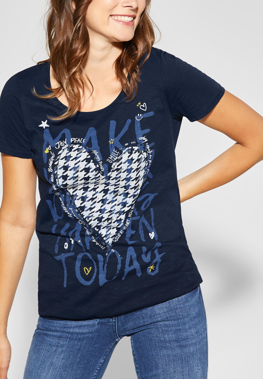 Shirt mit Frontprint in Deep Blue Street One