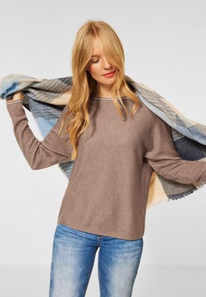 Street One - Pullover mit Dolman Ärmeln in Mocca Sand Melange