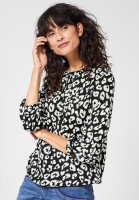 Street One - Bluse mit Leomuster in Black