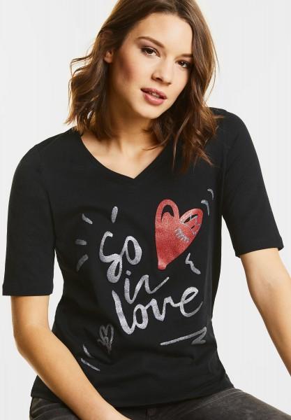 Street One - V-Shirt mit Glitzer Wording in Black