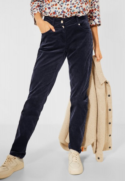 CECIL - Casual Fit Cord Hose in Deep Blue