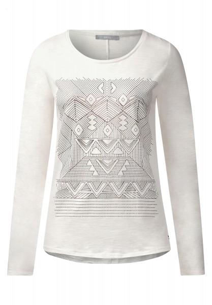CECIL - Langarmshirt mit Ethnoprint Pure Off White