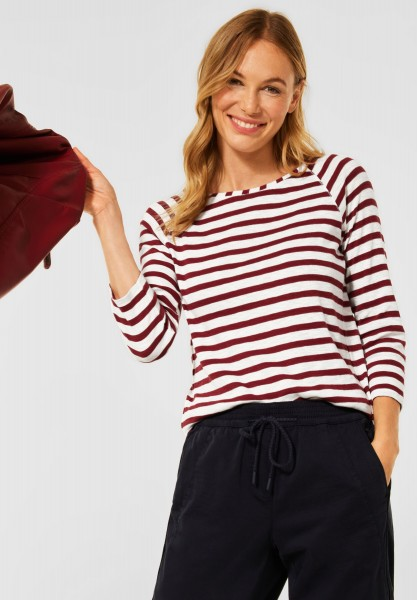 CECIL - T-Shirt mit Streifen Muster in Copper Brown