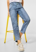 Street One - Slim Fit Denim in High Waist in Indigo Blue Yarn Dye Stripe