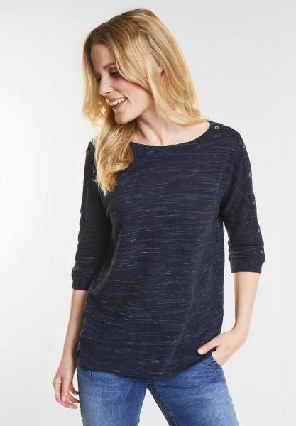 CECIL - Kurzes Shirt mit Zierknöpfen in Deep Blue