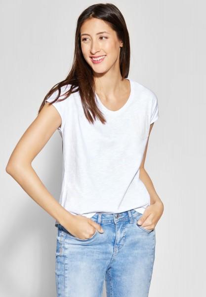 Street One - Jersey Shirt mit Pailletten in White