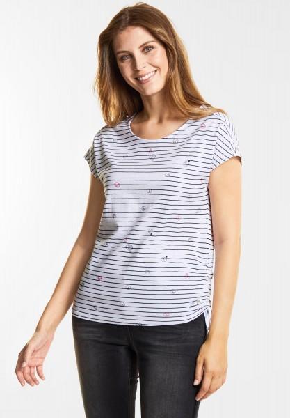 CECIL - Streifen T-Shirt mit Print in White