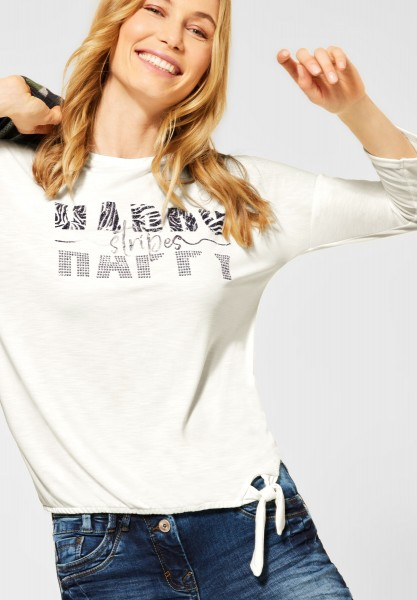 CECIL - Shirt mit Schimmer-Print in Pure Off White